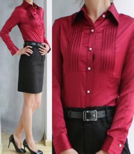 红色女士长袖衬衫