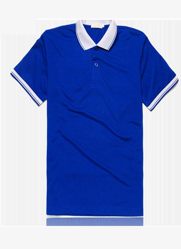 蓝色翻领文化衫